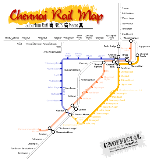 Map of the Chennai metro, chennai mrts and the chennai suburban railway network
