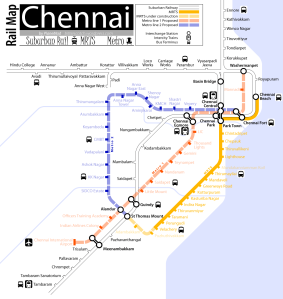Map of the proposed rail network in Chennai