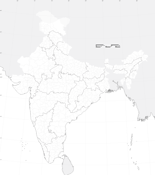 free district outline map of india